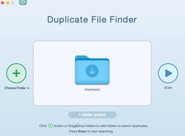 Interface de Duplicate File Finder Remover
