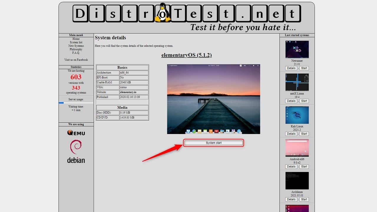 Essayer une distribution Linux dans votre navigateur web avec Distrotest