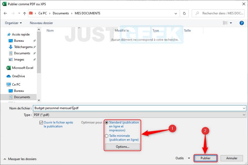 Convertir un fichier Excel en PDF directement dans le logiciel Excel
