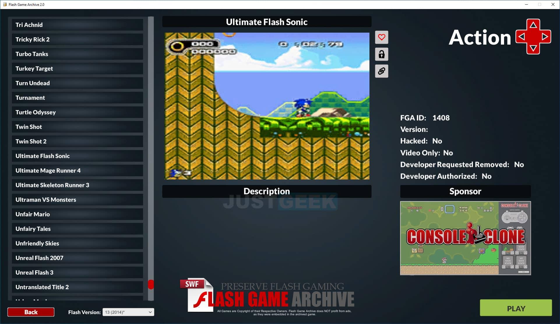 Interface du logiciel Flash Game Archive