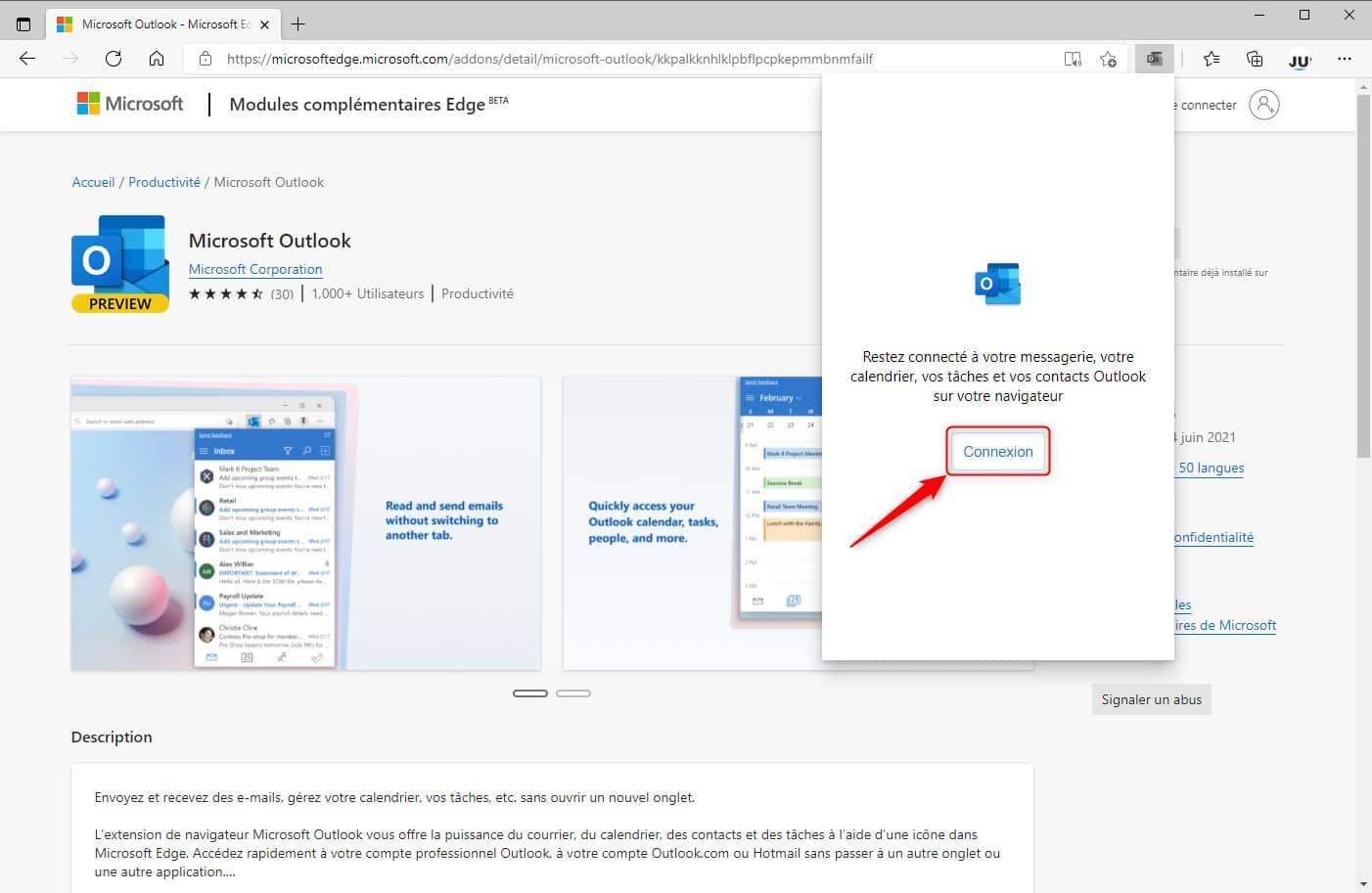 Connexion à l'extension Microsoft Outlook