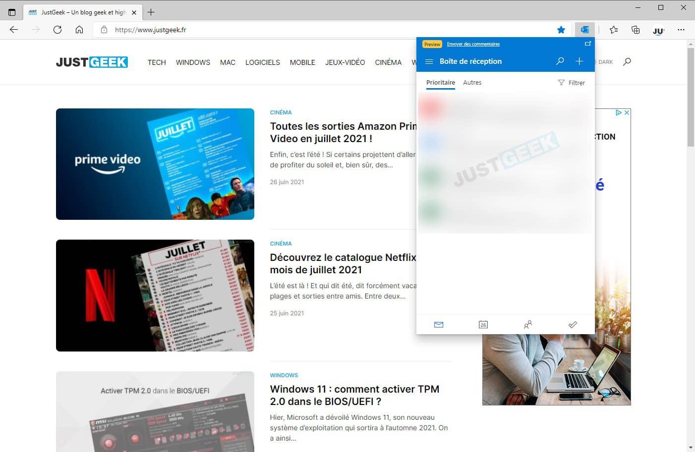 Interface de l'extension Microsoft Outlook pour Edge
