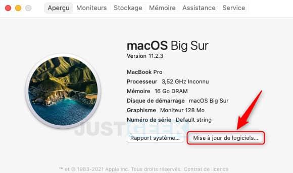 Mise à jour de logiciels MacBook