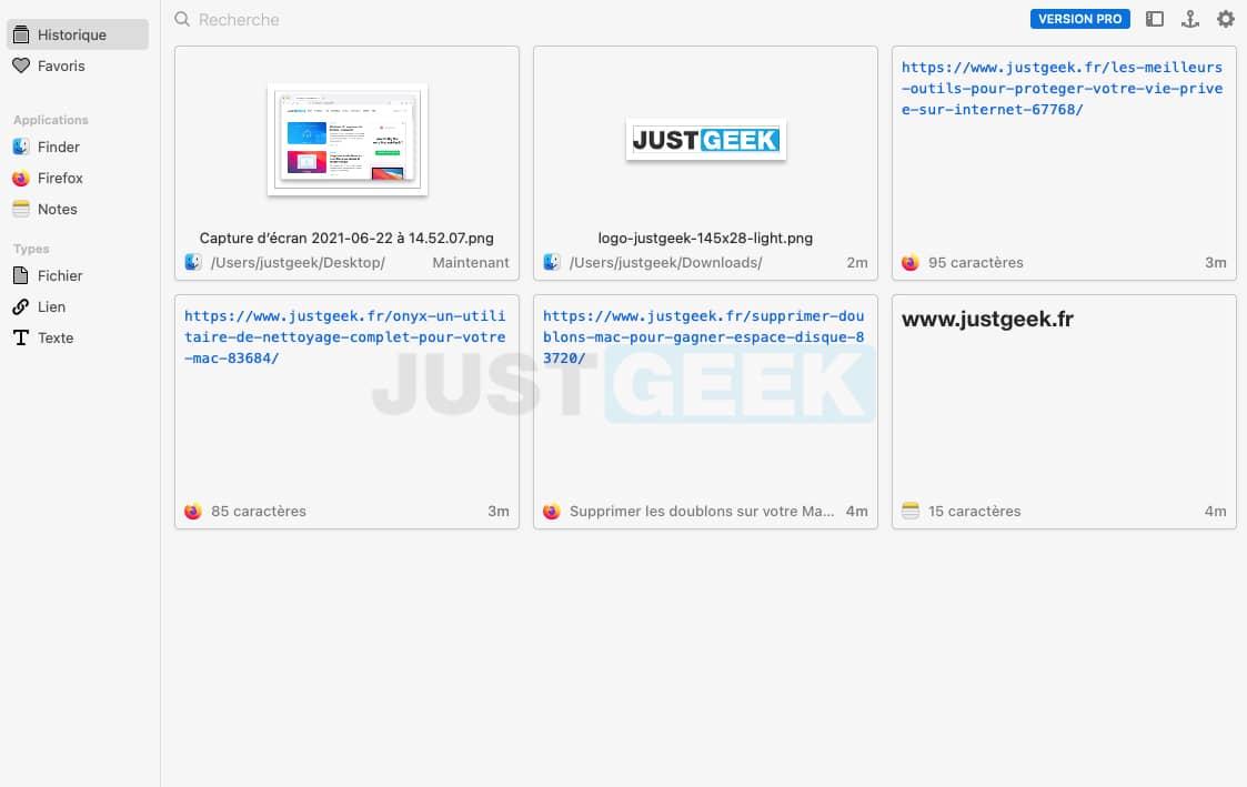 Interface de Pasta, un gestionnaire de presse-papiers sur Mac