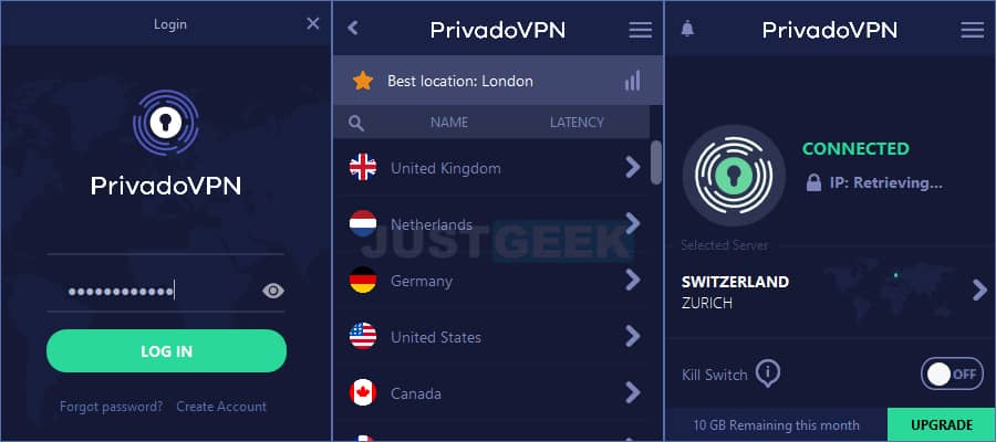 PrivadoVPN : interface du VPN gratuit