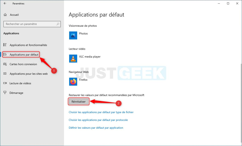 Réinitialiser les applications par défaut dans Windows 10