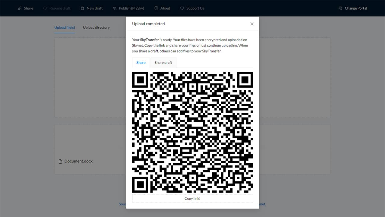 Partager des fichiers gratuitement avec SkyTransfer
