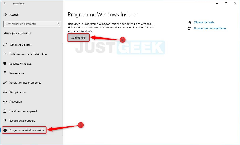 S'inscrire au programme Windows Insider
