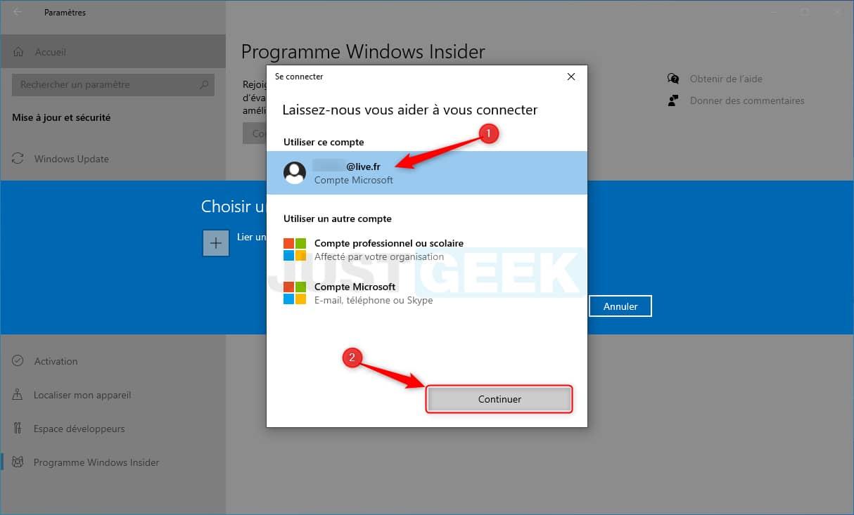 Sélectionner votre compte Microsoft pour s'inscrire au programme Windows Insider