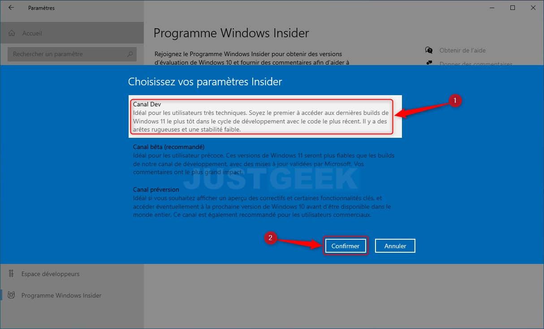 Sélectionner le Canal Dev dans le programme Windows Insider