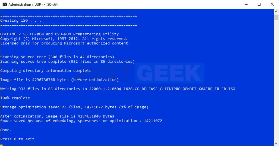 Compilation du fichier ISO Windows 11 Insider Preview build 22000.51 French