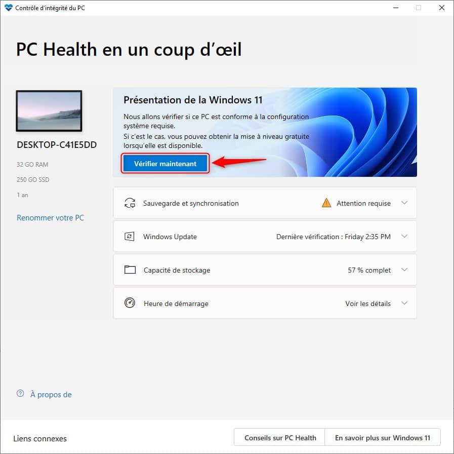 Vérifier la compatibilité de votre PC avec Windows 11