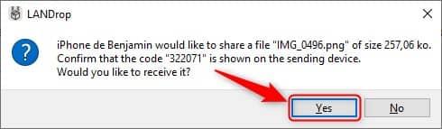 Accepter le transfert de fichiers LANDrop