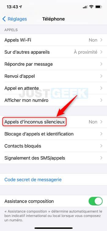 Appels d'inconnus silencieux iPhone