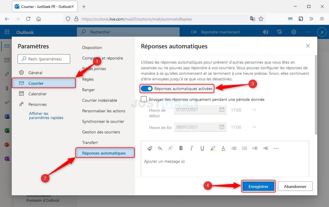 E-mail automatique d'absence dans Outlook (version web)