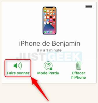 Faire sonner votre iPhone à distance