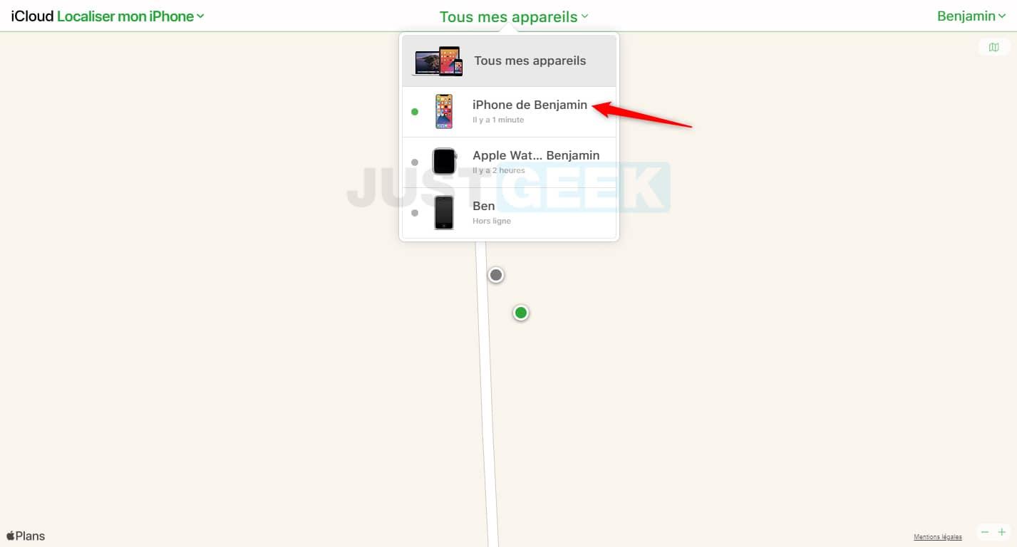 Localiser mon iPhone : sélectionner l'appareil dans la liste