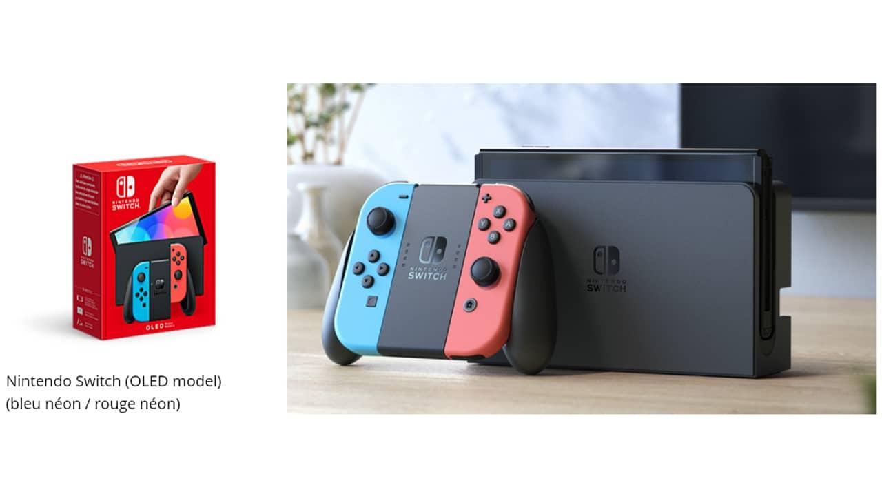 Pack Nintendo Switch (modèle OLED) bleu néon / rouge néon