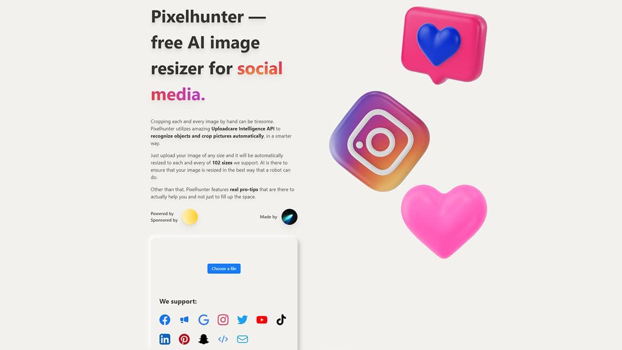 Redimensionner une image/photo pour les réseaux sociaux avec PixelHunter