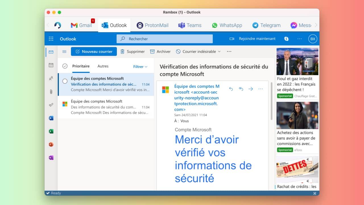 Rambox : application de messagerie universelle