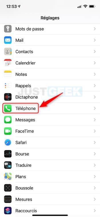 Réglages Téléphone iPhone