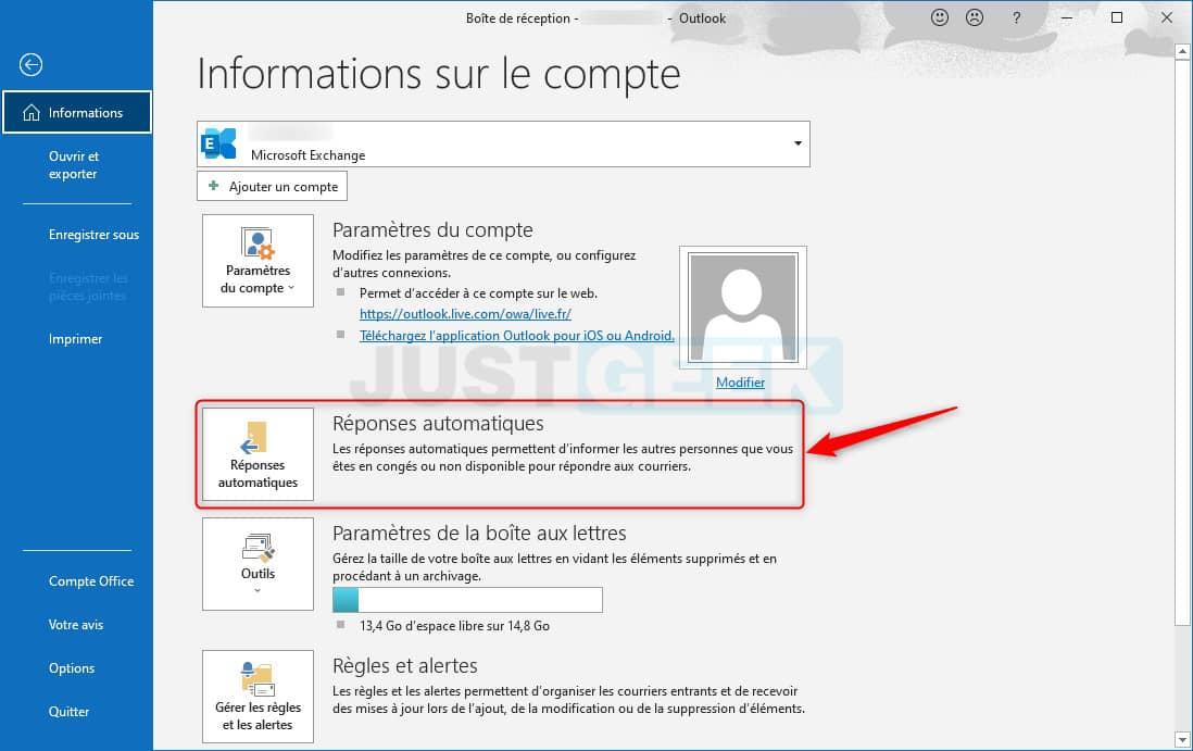 Créer une réponse automatique dans Outlook