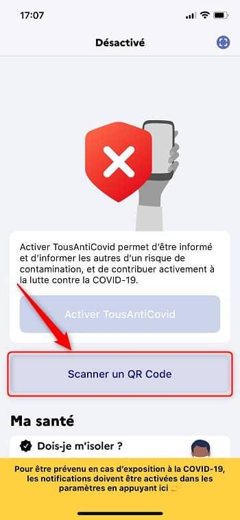 Scanner un QR code avec l'application TousAntiCovid
