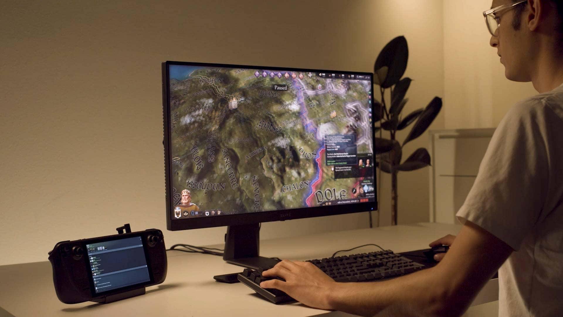 Le Steam Deck permet de jouer sur un moniteur PC grâce à son dock