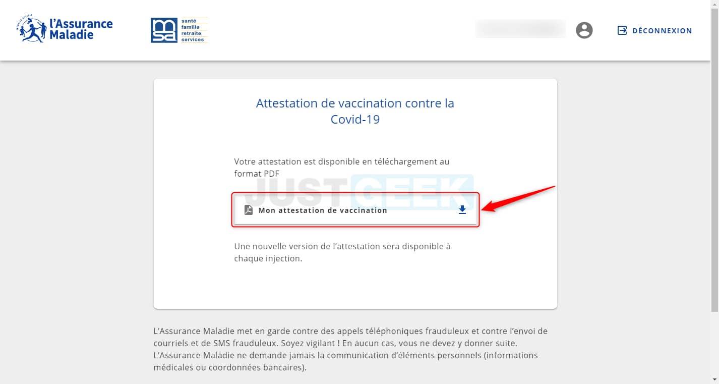 Télécharger le pass sanitaire (attestation de vaccination)