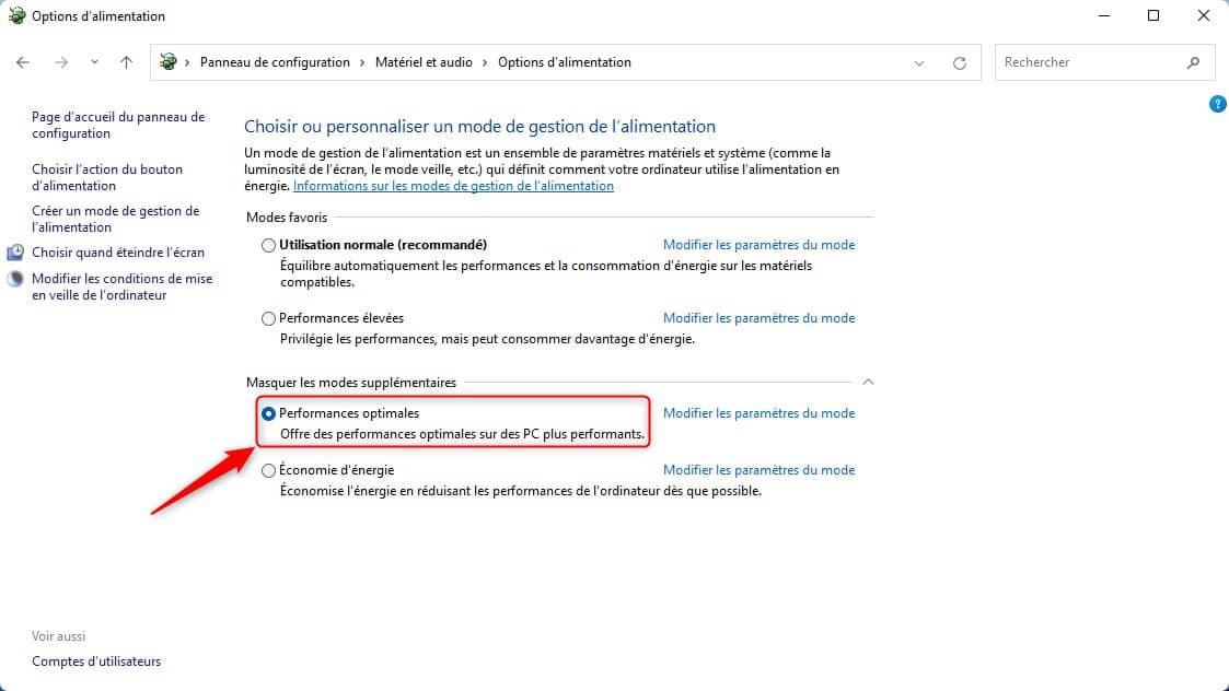 Activer le mode Performances optimales dans Windows 11