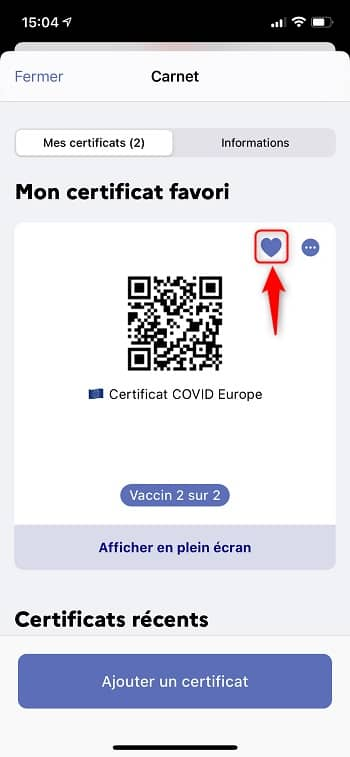 Ajouter le QR code du pass sanitaire en favori dans l'application TousAntiCovid