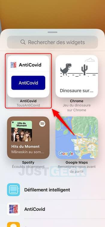 Ajouter le widget TousAntiCovid sur iPhone