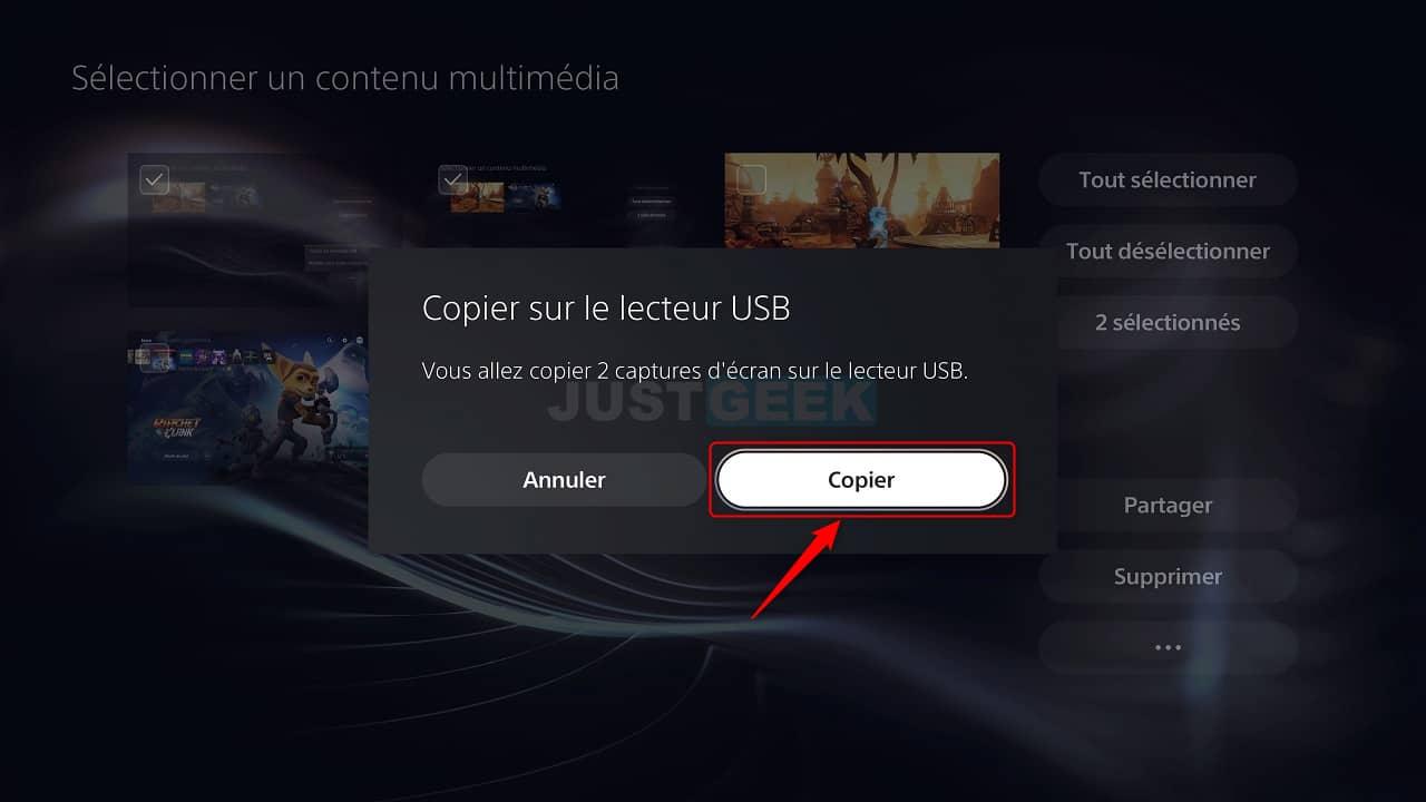 Confirmer la copie des captures d'écran sur une clé USB depuis la PS5