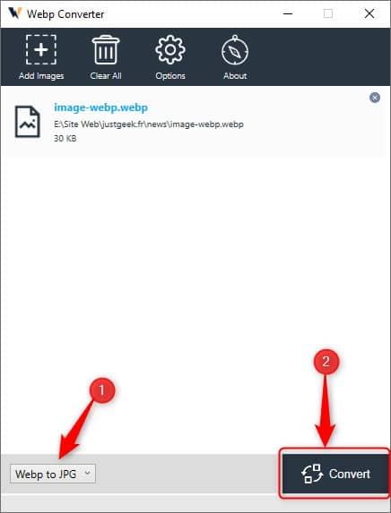 Convertir une image WebP en JPG avec le logiciel gratuit Webp Converter