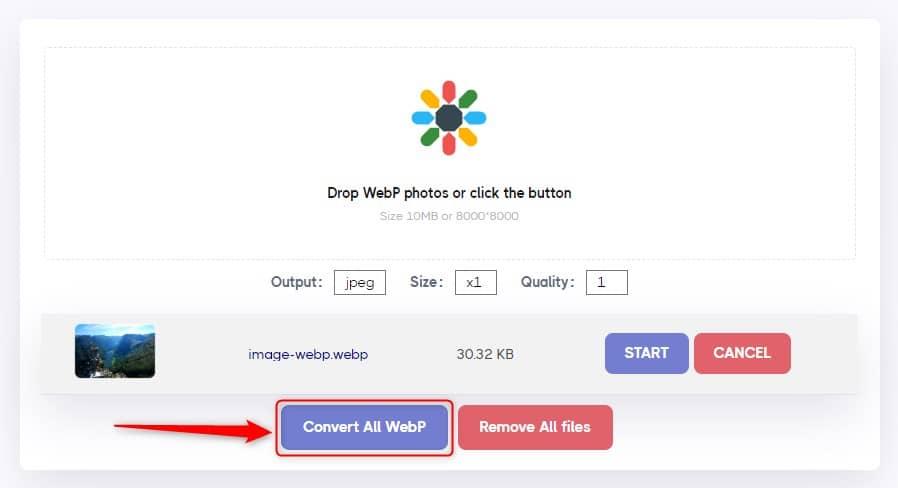 Convertisseur WebP en JPG/PNG avec AnyWebP