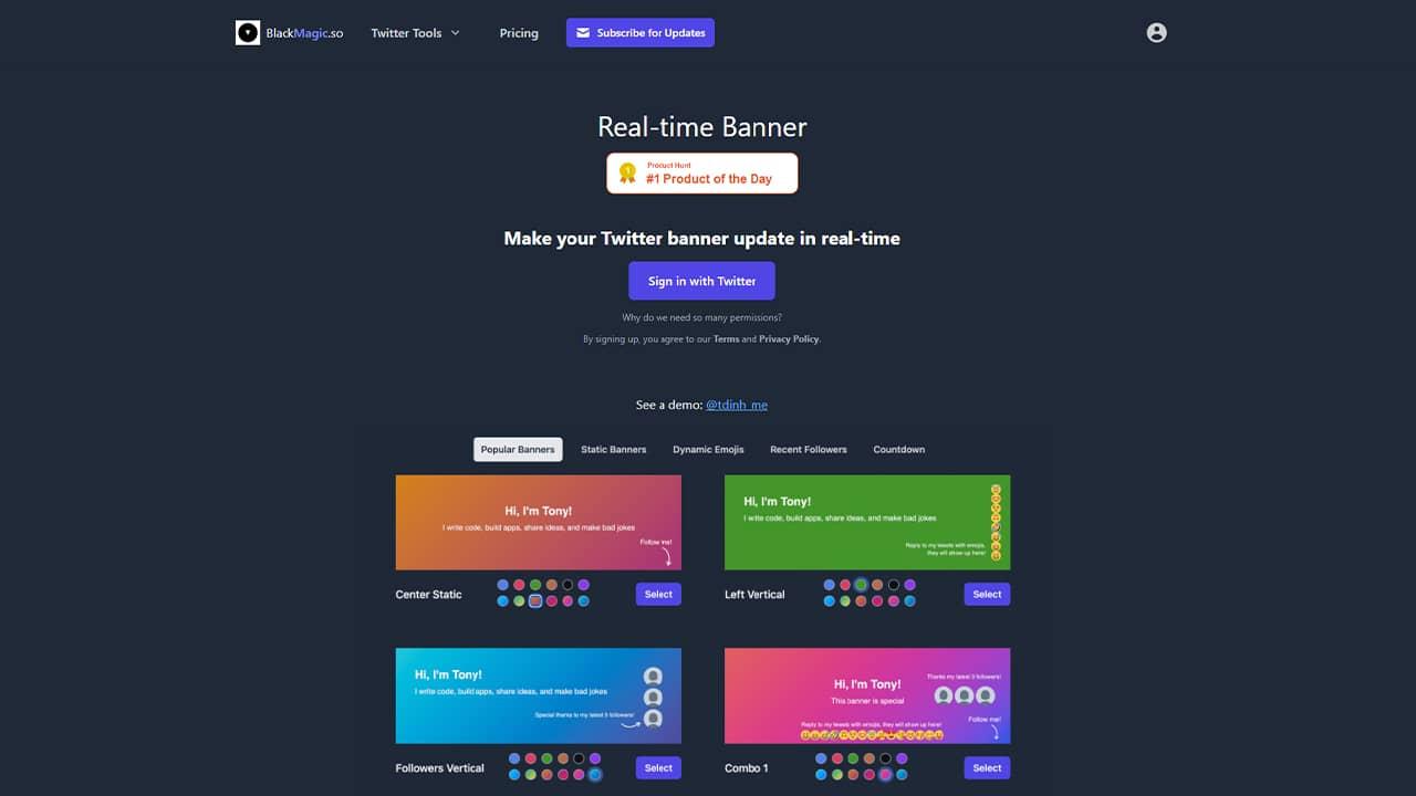 Créer une bannière Twitter personnalisable avec Real-time Banner
