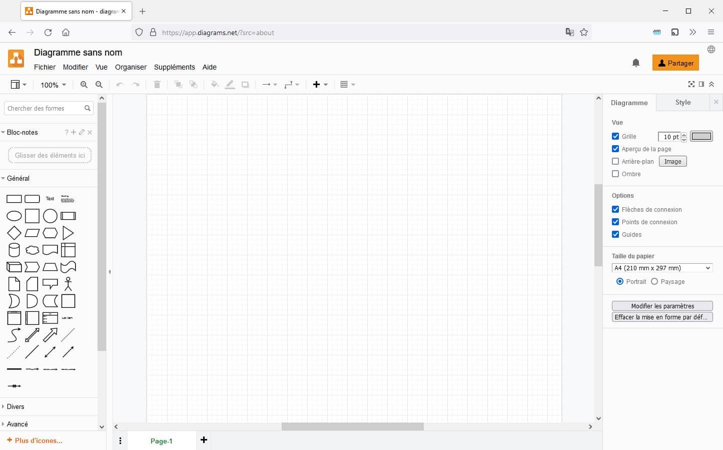 Interface de l'outil en ligne pour créer vos diagrammes, schémas et organigrammes