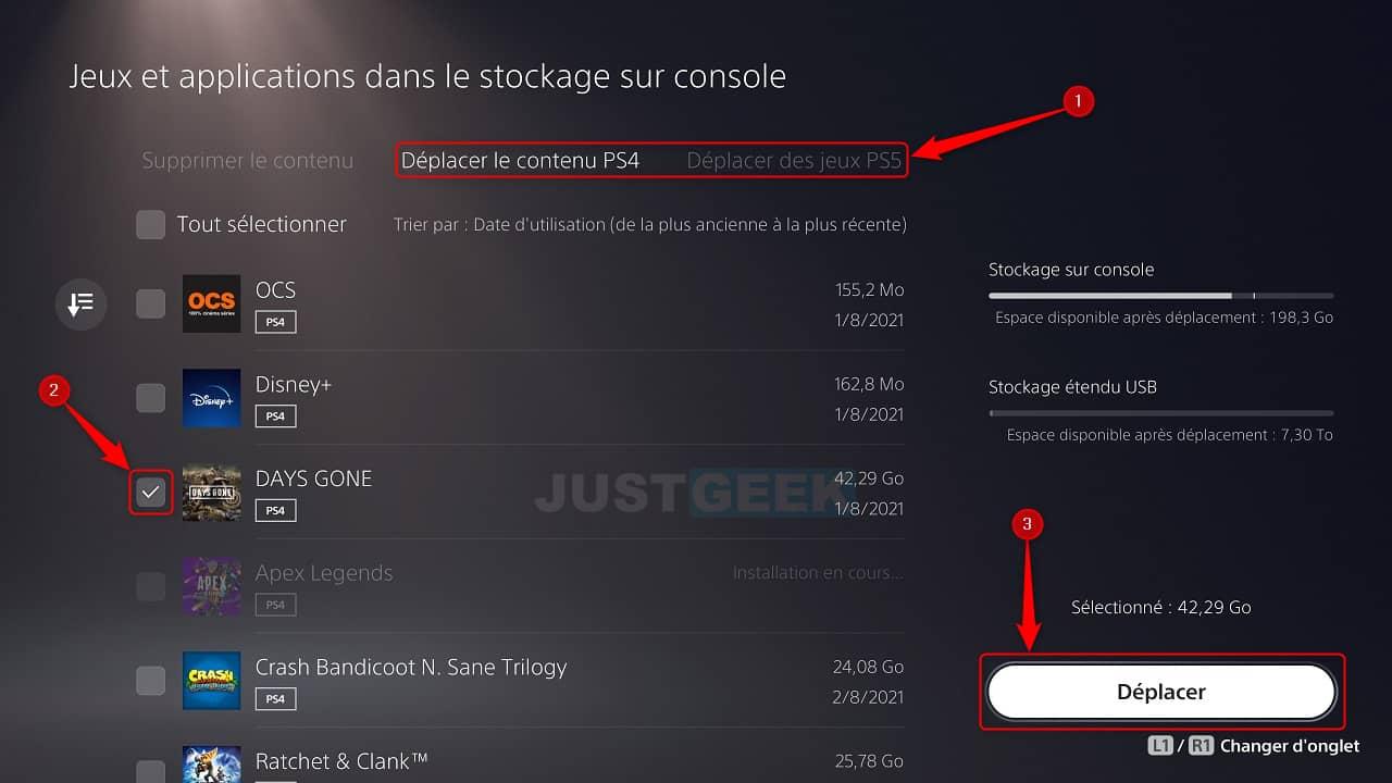Déplacer des jeux PS4/PS5 sur le support de stockage étendu USB de la PS5