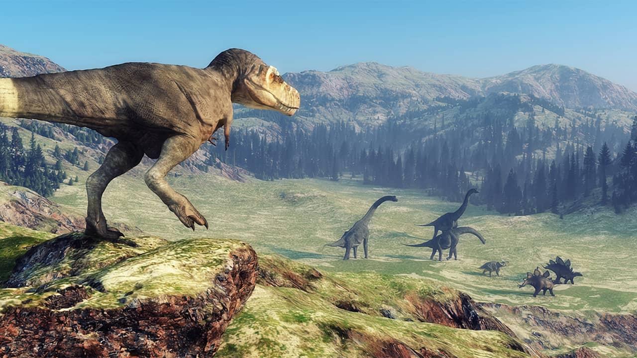 Dinosaures dans une vallée