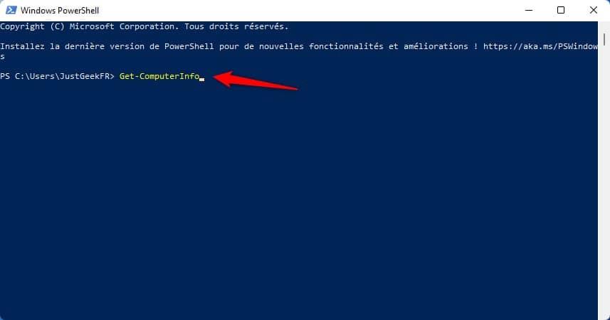 Commande Get-ComputerInfo Windows PowerShell
