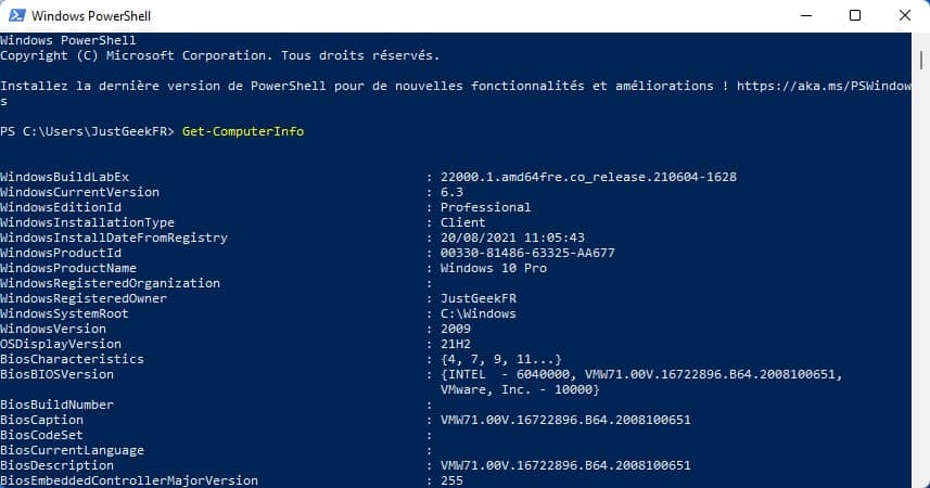 Informations système Windows PowerShell