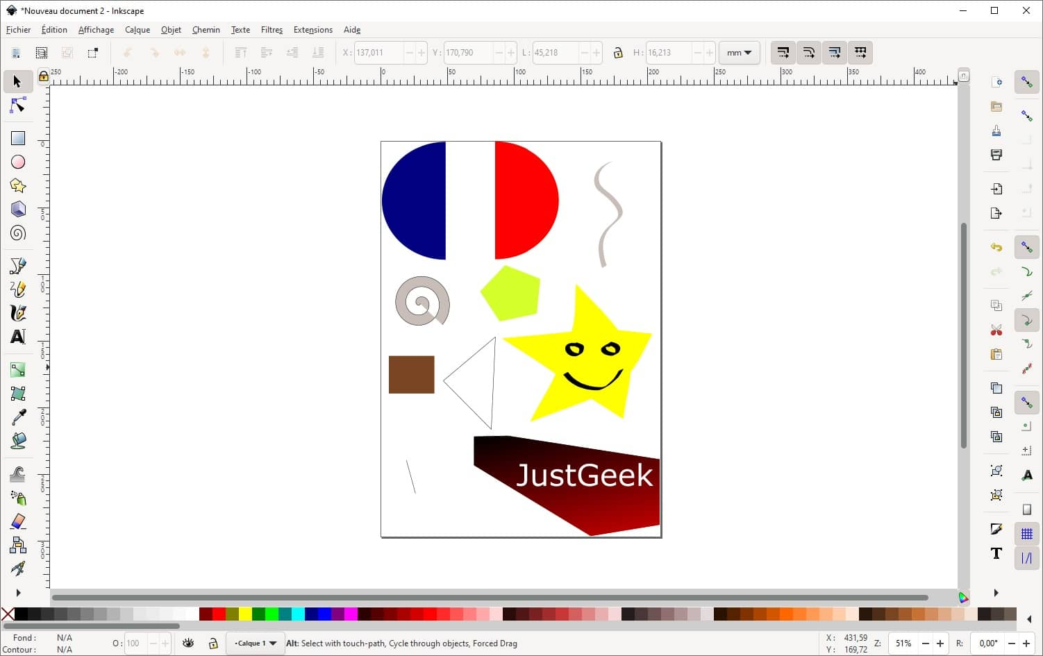 Interface du logiciel de dessin vectoriel Inkscape