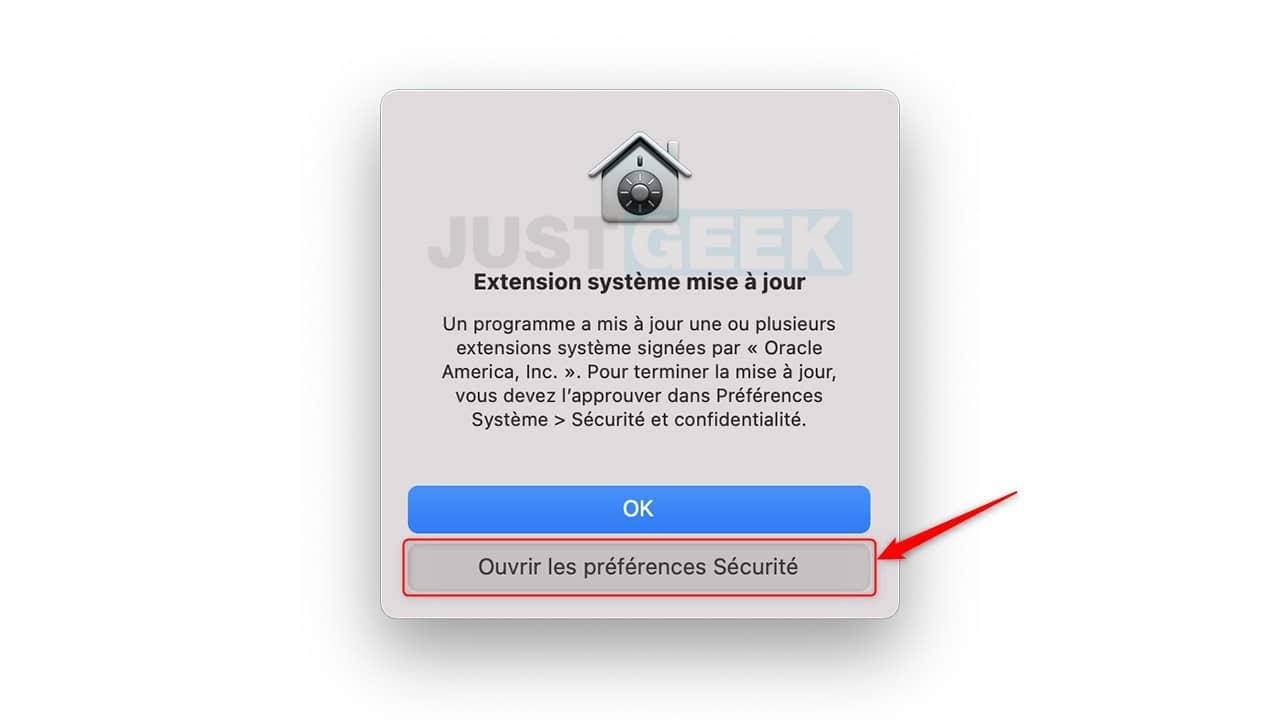 Cliquez sur Ouvrir les préférences Sécurité
