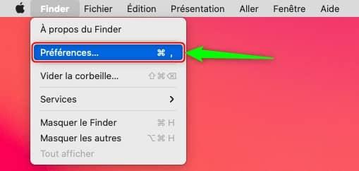 Préférences du Finder sur Mac