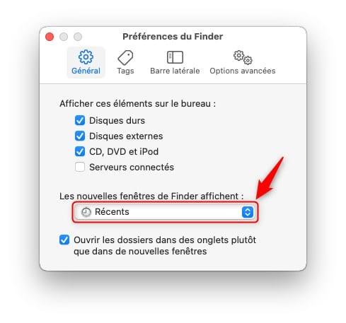 Modifier le dossier d'ouverture du Finder sur Mac