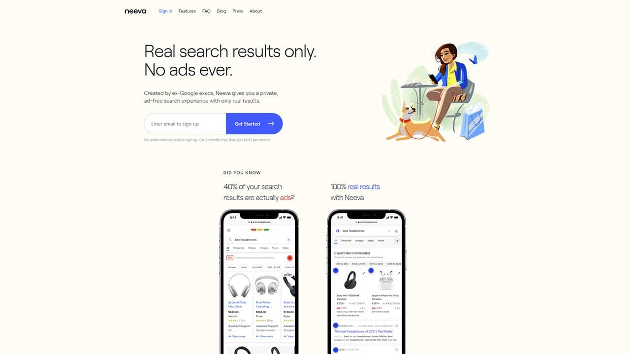 Neeva, un moteur de recherche privé, anonyme et sans publicité