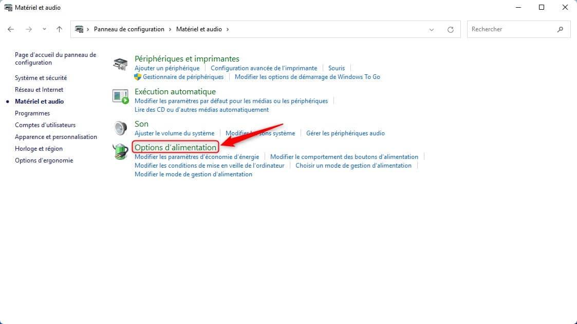Cliquez sur Options d'alimentation dans le Panneau de configuration de Windows 11