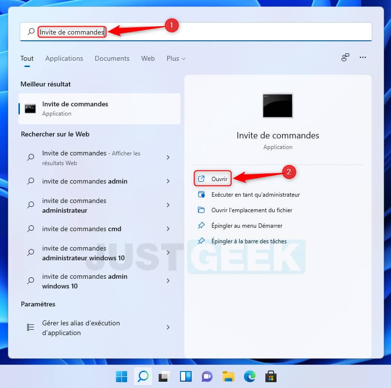 Recherchez invite de commandes dans le menu Démarrer de Windows 11