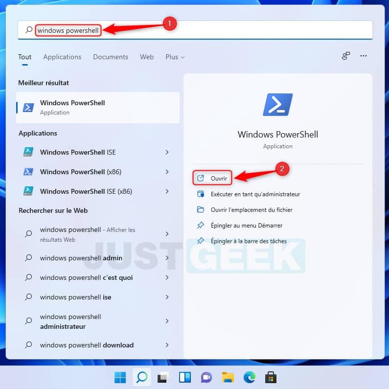 Ouvrir Windows PowerShell dans Windows 11