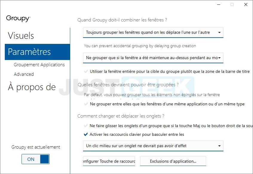 Paramètres du logiciel Groupy